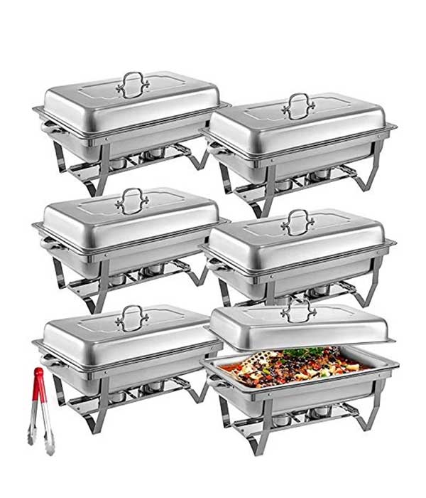 6 stainless steel chafing dishes with sternos