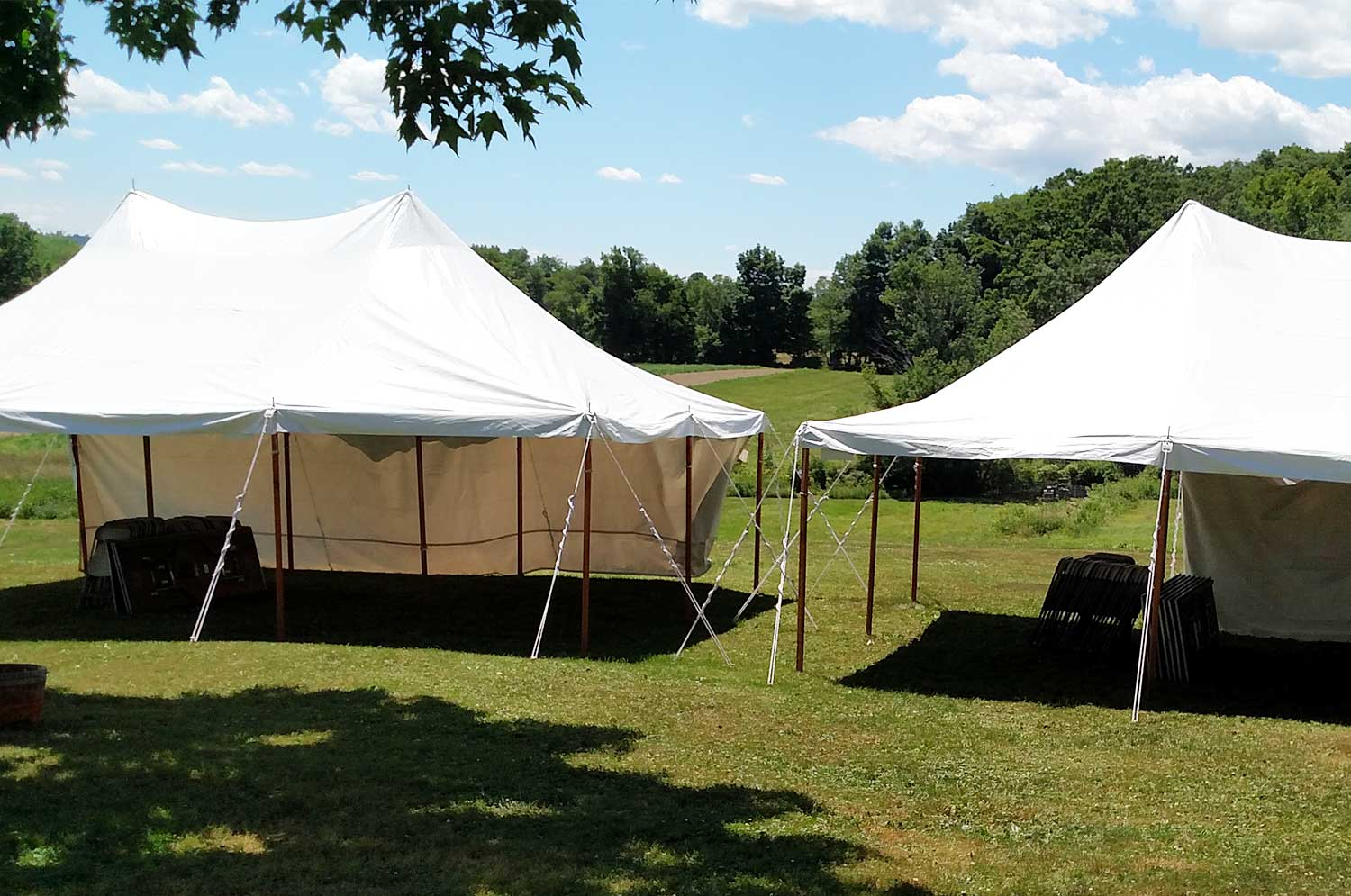Side by side tents set up for party in Greenwich, NY