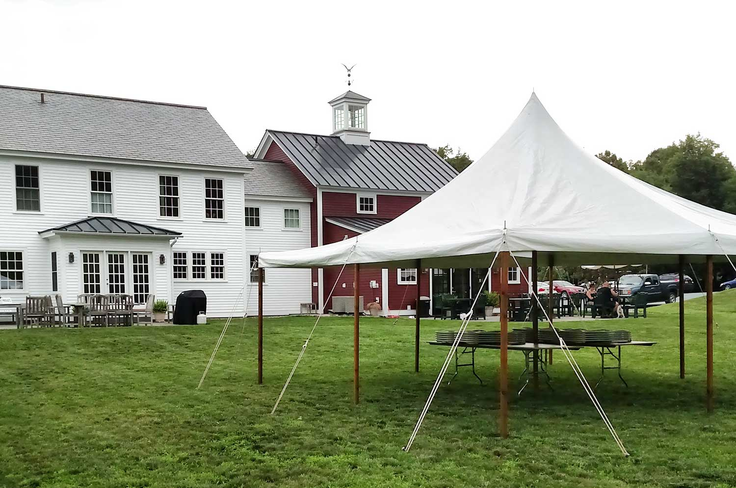 A party tent sent up for an RS Taylor Brewery event
